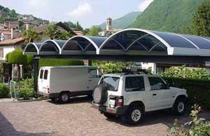 Carport tettoie auto pensiline ombreggianti parcheggi for Carport 2 posti